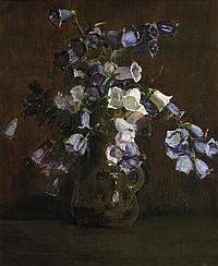 Arthur Streeton 1867-1943 CANTERBURY BELLS (PURPLE AND WHITE) (1928) oil on canvas