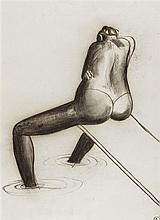 BRETT WHITELEY 1939-1992 Arkie on the Diving Board 1981 charcoal on paper