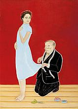 VIVIENNE SHARK LEWITT born 1956 Me? Here? 2002 oil on canvas