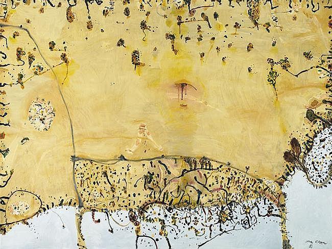 John Olsen born 1928 LANDSCAPE WOUNDED BY SUMMER 1985-1986 oil on canvas