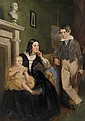 Attributed to Thomas Bock 1790/1793-1855 MARGARET AND WILLIAM ROBERTSON AND THEIR FAMILY (1847) oil on cardboard (three panels)