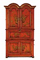 A GEORGE II AND LATER RED LACQUERED DOUBLE DOMED CABINET ON CHEST
