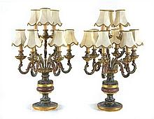 A pair of Italian polychrome painted candelabra (mounted as lamps)