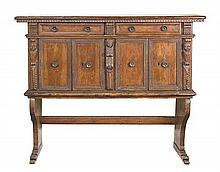 A fine and unusual Italian walnut credenza, 17th century