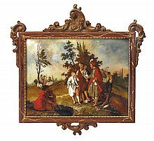 A set of four Italian paintings on glass, 18th century (4)