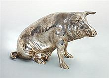 A silver plated model of a pig, possibly German, 20th century