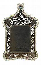 An Italian etched glass mirror, probably Venetian, 18th/19th century