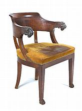 A French Empire mahogany elbow chair, circa 1815
