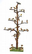 An Austrian carved and polychrome wooden bird specimen tree, late 19th century