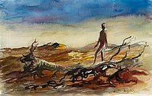 RUSSELL DRYSDALE 1912-1981 (Landscape with figure) watercolour and pencil on paper