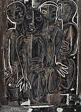 IAN FAIRWEATHER 1891-1974 Kneeling Figures (1951) gouache on cardboard