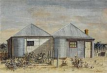 HELEN OGILVIE 1902-1993 Cottage Fibro Sheeting and Iron 1971 tempera on board