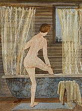 HELEN OGILVIE 1902-1993 The Morning Bath 1976 oil on gesso on composition board