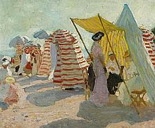 E. PHILLIPS FOX 1865-1915 Morning on the Beach (circa 1909-1911) oil on canvas