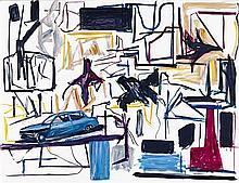 KEN WHISSON born 1927 Automobile and Bright Birds 2003-2005 oil on canvas