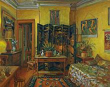 MARGARET OLLEY 1923-2011 Yellow Room, Evening (1995) oil on composition board