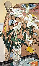 CRESSIDA CAMPBELL born 1960 Lilies with Indian Cloth (1994) woodblock