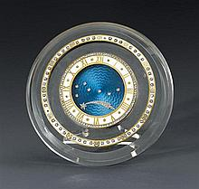 A very fine rock crystal, enamel and diamond-set desk clock with box, Cartier, numbered 379 and 7137, circa 1915