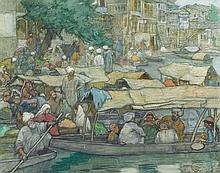 CHARLES BARTLETT 1860-1940 The Floating Barber Shop: Eastern River Scene 1915 watercolour and pastel on paper