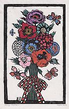 MARGARET PRESTON 1875-1963 Plaid Bow 1925 hand-coloured woodcut on paper