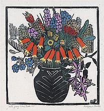 MARGARET PRESTON 1875-1963 Christmas Bells 1925 hand-coloured woodcut on paper