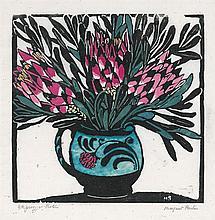 MARGARET PRESTON 1875-1963 Protea 1925 hand-coloured woodcut on paper