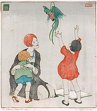 ETHEL SPOWERS 1890-1947 The Noisy Parrot 1926 colour linocut on paper