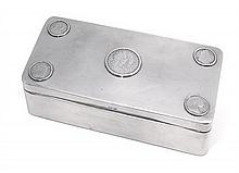 A sterling silver coin mounted cigarette box, William Haseler, Birmingham 1904