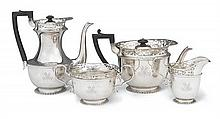 A Sterling silver four piece tea and coffee service, Goldsmiths and Silversmiths Company Limited, London, 1904 (4)