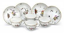 Four Meissen tea cups and saucers, 19th century (8)