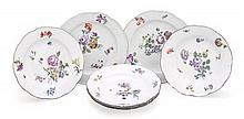 Five Meissen porcelain bowls together with two Meissen entrée plates, 19th century (7)