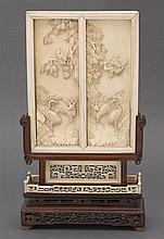 An ivory table screen and stand, 19th/20th century (2)