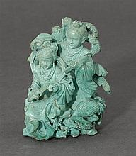 A turquoise carving of a maiden and boy (2)