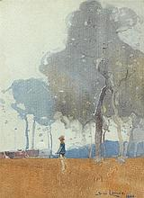 SYDNEY LONG 1871-1955 Trees and Figure 1910 watercolour on paper