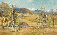 A.H. FULLWOOD 1863-1930 The Settler's Hut 1894 oil on wood panel