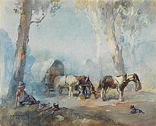 B.E. MINNS 1864-1937 Afternoon Rest 1929 watercolour on paper