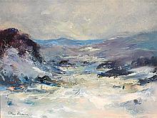 ALLAN HANSEN 1911-2000 Snowy Mountains oil on board