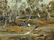 RAY CROOKE born 1922 Family Resting (circa 1964-1965) oil on composition board