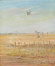 ARTHUR BOYD 1920-1999 Farmer near Sheep Shelter, Wimmera oil on board