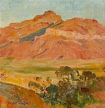 VIOLET TEAGUE 1872-1951 (Central Australian Sunset) oil on canvas on cardboard