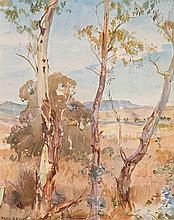 HANS HEYSEN 1877-1968 Mount Barker Landscape in Summer watercolour on paper