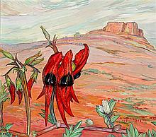 CRISS CANNING born 1947 Desert Landscape with Sturt Pea 2013 oil on composition board