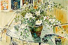 WILLIAM BOISSEVAIN born 1927 (Interior, Flowers on a Table) ink and watercolour on paper