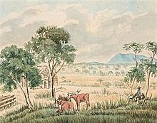 ROBERT HODDLE 1794-1881 Sketch from Main's Station near Moonee Moonee Ponds Ford watercolour over pencil on paper