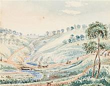 ROBERT HODDLE 1794-1881 Main's Bridge Moonee Moonee Ponds, near Melbourne, Port Phillip, October 1847 1847 watercolour over pencil o...