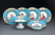 A Sevres pattern porcelain part dessert service, late 19th century (6)