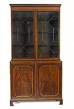 A George III satinwood inlaid mahogany bookcase, circa 1800 (2)