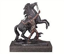 After Guillaume Coustou, a bronze and spelter model of a Marley Horse, circa 1890