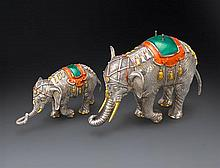 Two Tiffany and Co. sterling silver and enamel elephants, designed by Gene Moore, 20th century (2)