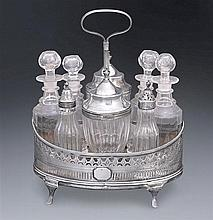 A George III sterling silver and crystal cruet stand, London, 1791 (11)